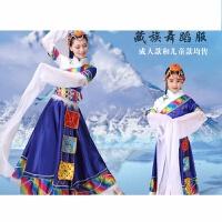 水袖长袖藏族舞蹈服装女装演出长裙儿童演出服饰民族舞台表演藏袍