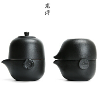 简易便携茶壶套装 快客杯一壶二杯小罐茶叶粗陶旅行功夫茶具