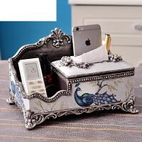 欧式多功能纸巾盒奢华创意客厅茶几美式抽纸盒复古家居装饰品摆件