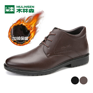 木林森99男鞋加绒保暖棉鞋真皮商务休闲鞋男士短靴1304101289