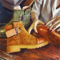 欧洲站秋季新款真皮短靴女英伦风切尔西靴女鞋复古学生粗跟女靴子