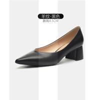 粗跟单鞋女春季新款绒面尖头高跟鞋浅口中跟工作职业女鞋小码SN9528
