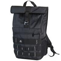书包 潮牌卷盖双肩包男大容量户外休闲旅行背包骑行学生书包 黑色
