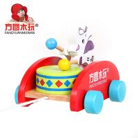 方圆木玩小象拖拉玩具手敲鼓木制拖拉车幼儿音乐宝宝拉线益智玩具