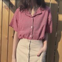 春夏2018新款韩版小清新格子西装领短袖衬衫女百搭宽松衬衣上衣潮