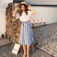 韩版时尚休闲套装夏装女装宽松短袖T恤上衣+高腰格子半身裙两件套 均码