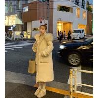 冬装女韩版宽松连帽大毛领工装棉衣外套女冬加厚保暖