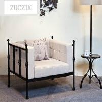 ZUCZUG简约现代沙发椅靠背椅子美式工业风 休闲咖啡馆桌椅 酒吧铁艺 默认雅典黑
