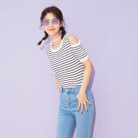 美特斯邦威官方旗舰店短袖针织衫女夏装新款条纹露肩修身打底衫