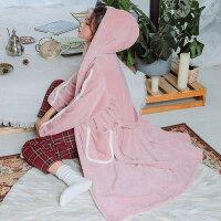 秋冬季加厚加长款法兰绒带帽睡袍女冬天保暖韩版连帽珊瑚绒睡衣