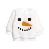 套装春秋男女童白色雪人卫衣宝宝毛绒外婴儿套头衫