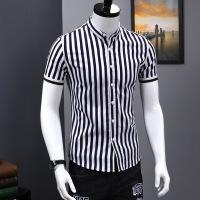 男士短袖衬衫夏季薄款纯棉修身韩版条纹寸衫青年商务休闲男装衬衣