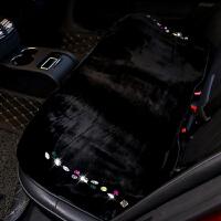 新款冬季汽车坐垫保暖毛绒无靠背防滑单片座垫小三件镶钻可爱女