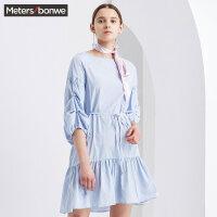 【1件2折到手价:35.2】美特斯邦威裙装女夏装新款彩条纹A型连衣裙