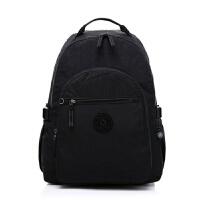 男女士防水尼龙布背包 旅行休闲双肩包14寸电脑包学生书包 黑色 见图