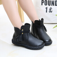 女童靴子冬季2018新款韩版英伦风中大童防滑保暖加绒宝宝儿童短靴