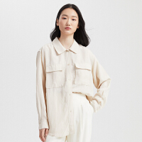 【1件5折价:119.5,可叠券】MECITY女装2020夏季新款纯色长袖宽松工装口袋衬衫