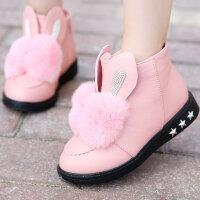 儿童靴子女童靴加绒短靴2017新款中大童冬靴宝宝雪地靴棉鞋公主鞋