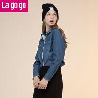 【清仓3折价79.8】Lagogo2019秋冬季新款时尚纯色牛仔衬衫女加绒加厚休闲上衣