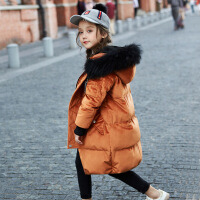 儿童羽绒服女童中长款加厚2017新款韩版中大童童装女宝宝冬装外套 焦糖色