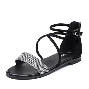 Teenmix/天美意2018夏羊绒皮革/纺织品一字带方跟女凉鞋R2062BL8