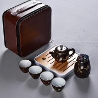 旅行茶具套装便携包粗陶复古迷你日式小茶具泡茶器户外一壶四杯