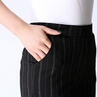 妈妈装秋装高腰垂坠直筒裤九分裤大脚裤不皱西装裤显瘦中老年女裤