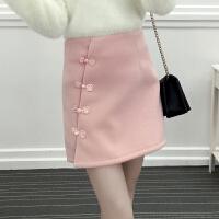 裙子冬女学生2018新款韩版显瘦修身高腰半身裙短裙a字毛呢裙