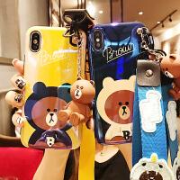 可爱熊苹果Xsmax手机壳卡通网红女款iPhone7plus蓝光软套同款6s手机壳公仔支架