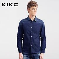 kikc男装纯棉衬衫英伦青年韩版修身纯棉简约长袖牛仔衬衣潮流