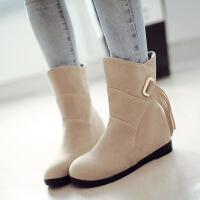 彼艾2018秋冬新款马丁靴子平底内增高冬季雪地靴流苏中筒靴