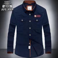 战地吉普男长袖衬衫 Afs Jeep纯棉休闲宽松纯色衬衣上衣1698