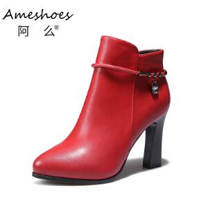 阿么2017切尔西短靴新款韩版英伦风粗高跟防滑女靴