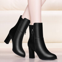 女士棉皮鞋高跟靴子女马丁靴女士皮鞋粗跟短靴2018新款冬季高跟鞋加绒网红大棉鞋srr LJ 6155黑色