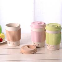 萌味 杯子 环保麦子纤维杯女生杯子韩版水杯简约创意杯子带盖情侣随手咖啡杯水杯