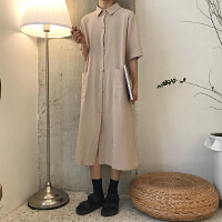 夏季新款韩版cic风翻领排扣宽松中长款衬衫式学院风连衣裙女