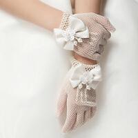 春夏新款花童礼服儿童婚纱礼服公主裙六一演出服配饰淑女网纱手套8986 白色 均码