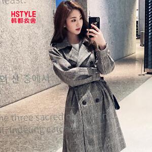 【1件3折:285.6元】韩都衣舍2019韩版女装春装新款格子外套宽松中长款风衣AA13404�S