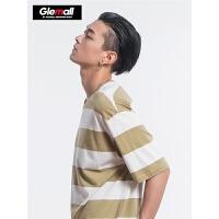 森马旗下潮牌GLEMALL 短袖男新夏季男装T恤休闲条纹体恤男男生潮牌上衣