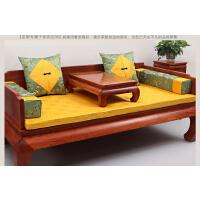 红木沙发坐垫中式罗汉床垫五件套防滑沙发垫棕垫海绵垫丝绸桌旗抱枕方枕yt定制定制! 明黄色 11-37配9-154