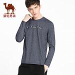 camel 骆驼男装 春季新款青年印花长袖t恤男士纯色圆领打底衫上衣服
