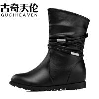 古奇天伦中秋冬新款时尚筒女靴子时尚可爱女鞋内增高靴子