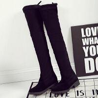 WARORWAR新品YM88-T1528冬季韩版低跟鞋舒适女士女靴弹力过膝靴长靴