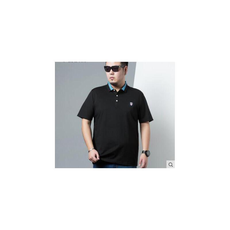 简约撞色休闲POLO衫男士短袖T恤纯色翻领打底衫加肥加大码男装 品质保证,支持货到付款 ,售后无忧
