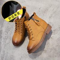 内增高雪地靴女短筒皮面靴子冬款短靴2018新款韩版百搭学生马丁靴SN4233