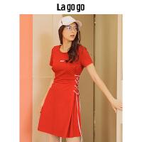 【年终狂欢节两件两折/叠满200-10优惠券】Lagogo2019夏季新款时尚圆领学院风短袖连衣裙女运动风红色短裙HA