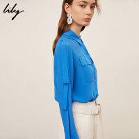 【不打烊价:175元】 Lily春新款女装纯色飘带设计宽松长袖口袋衬衫119140C4219