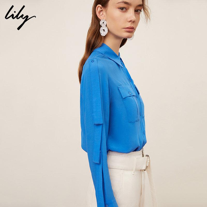 Lily春新款女装纯色飘带设计宽松长袖口袋衬衫119140C4219 冬季折扣季!全场低至2折/叠加使用礼券