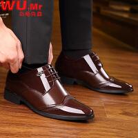 乌龟先森 皮鞋 男士新款英伦商务正装隐形内增高加绒棉鞋男式系带婚鞋时尚鞋子