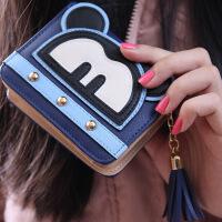韩版短款女士钱包 可爱米奇卡通学生拉链流苏钱夹零钱包 宝蓝色